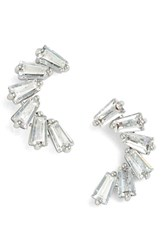 Women's Cz By Kenneth Jay Lane Curved Baguette Cubic Zirconia Stud Earrings