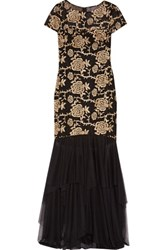Mikael Aghal Embroidered Tulle Gown Black