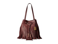 Frye Heidi Fringe Bucket Plum Soft Vintage Leather Shoulder Handbags Brown