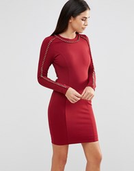 Forever Unique Etta Long Sleeve Bodycon Dress With Chain Detail Red