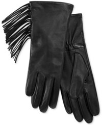 Charter Club Side Fringe Leather Tech Gloves Only At Macy's Black