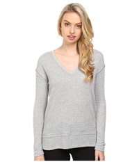 Lamade Gio V Neck Heather Grey White Women's Long Sleeve Pullover Gray