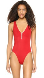 Oye Swimwear Lea V Neck One Piece With Zip Detail Red