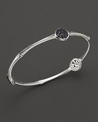 John Hardy Bamboo Sterling Silver Slim Three Station Bangle With Black Sapphire
