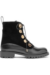 Alexander Mcqueen Leather And Velvet Boots Black