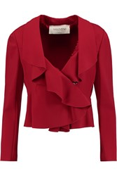 Valentino Ruffled Stretch Jersey Blazer Red