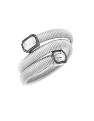 Vince Camuto Holiday Zinc And Crystal Spiral Bracelet Silver