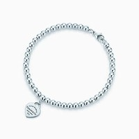 Tiffany And Co. Return To Tiffanytm Mini Heart Tag In Sterling Silver On A Bead Bracelet.