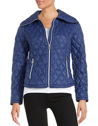 Michael Michael Kors Diamond Quilted Down Jacket Blue