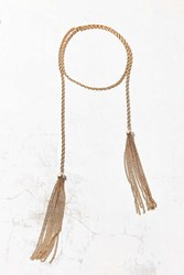 Urban Outfitters Twisted Chain Tassel Wrap Choker Necklace Gold