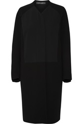 Roland Mouret Jassid Crepe Paneled Wool Coat Black