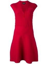 Emporio Armani V Neck Dress Pink Purple