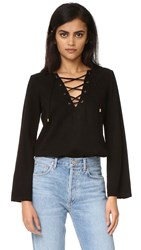Maven West Katy Lace Up Bell Sleeve Top Black