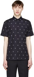 Neil Barrett Navy Micro Batik Shirt