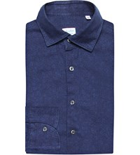 Slowear Regular Fit Floral Print Brushed Cotton Shirt Navy