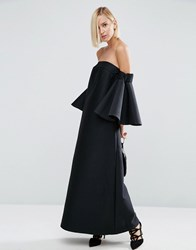 Asos White Bonded Bandeau Maxi Dress With Frill Detail Black