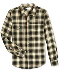 Lrg Men's Vice Plaid Flannel Shirt Military Olive