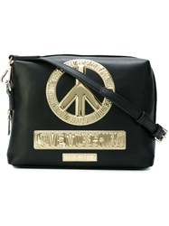 Love Moschino Gold Tone Peace Crossbody Bag Black