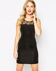 Pussycat London Bodycon Dress With Lace Top Black