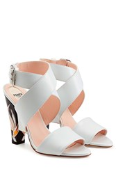 Fendi Leather Sandals With Printed Heels White