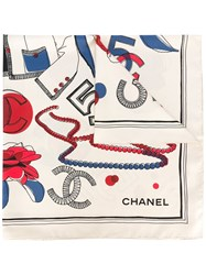 Chanel Vintage Icon Print Scarf Clover