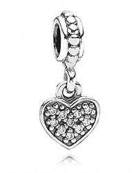 Pandora Design Pandora Dangle Charm Sterling Silver And Cubic Zirconia Pave Heart Moments Collection Silver Clear