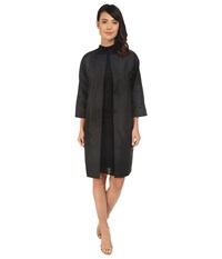 Adrianna Papell Taffeta Long Dolamn Sleeve Jacket Black Women's Coat