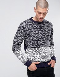D Struct Two Tone Diamond Jumper Navy