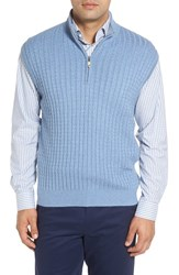 Robert Talbott Men's Cable Knit Quarter Zip Cotton Blend Sweater Vest Cadet