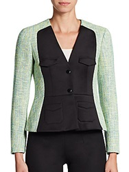 M Missoni Tweed Panel Jacket Green Multi
