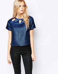 Girls On Film Metallic Top With Cut Out Detail Blue