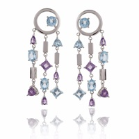 Manja Selatra Blue Topaz And Amethyst Chandelier Earrings Blue Pink Purple
