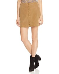 Free People Oh Snap Faux Suede Skirt Brown