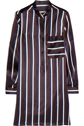 Joseph Shirty Striped Silk Satin Tunic Blue