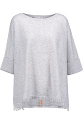 Duffy Fringed Cashmere Sweater Light Gray