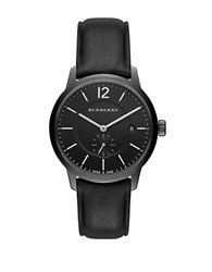 Burberry Black Ion Plated Stainless Steel Leather Strap Watch