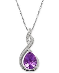 Macy's Amethyst 1 1 2 Ct. T.W. And Diamond Accent Infinity Pendant Necklace In Sterling Silver