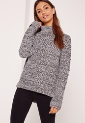 Missguided Side Split Roll Neck Jumper Grey