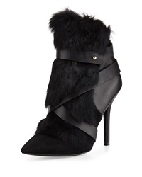 Charles Jourdan Knife Rabbit Fur Bootie Black