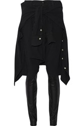 R 13 Layered Stretch Cotton And Leather Skinny Pants Black