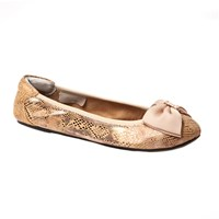 Cocorose London Buckingham Leather Foldable Ballerina Champagne