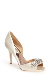 Women's Badgley Mischka 'Giana' Satin D'orsay Pump Ivory