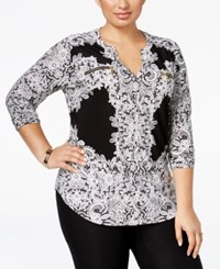 Inc International Concepts Plus Size Printed Zip Pocket Shirt Only At Macy's Placed Lace Explosion
