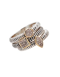 Lord And Taylor Stackable Sterling Silver And 14K Yellow Gold Rings With Diamond Pave Center