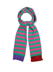 Gucci Striped Cashmere And Wool Blend Skinny Scarf Pink Multi