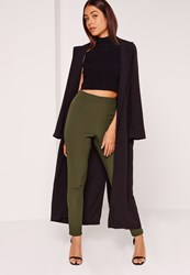 Missguided Crepe Trousers Khaki Beige
