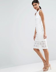 Asos Occasion Lace Skirt Pencil Dress Ivory Cream