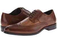 Stacy Adams Garrison Cognac Taupe Men's Lace Up Wing Tip Shoes Brown