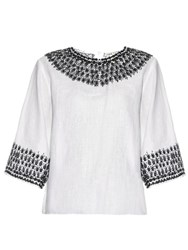 Jupe By Jackie Panzera Bead Embellished Linen Top White