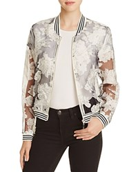 Lucy Paris Sheer Floral Bomber Jacket Black Grey